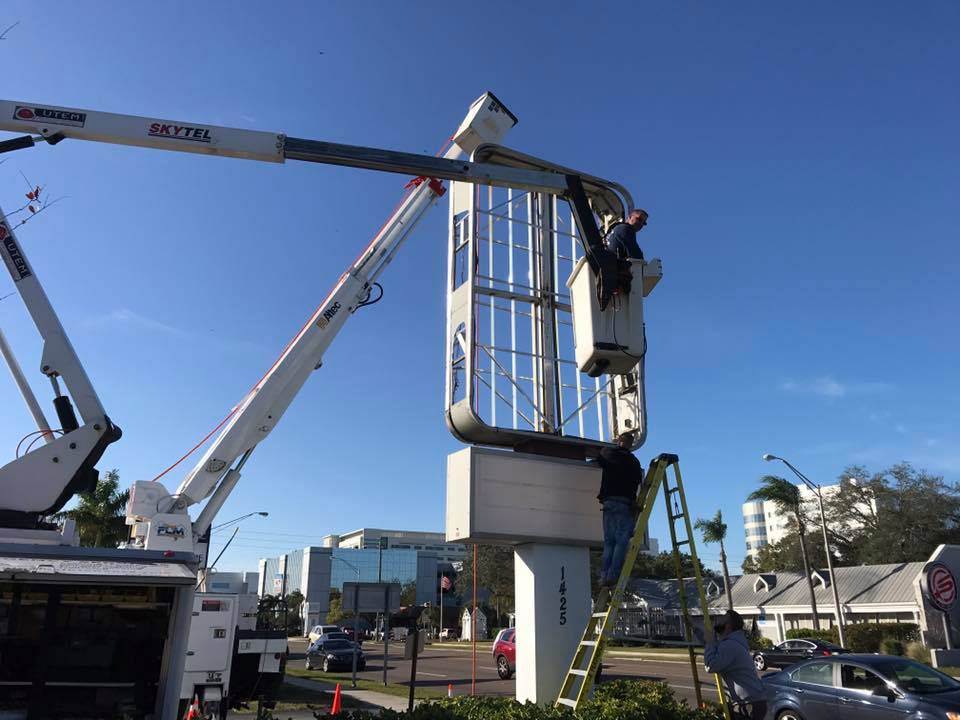 In Gulfport FL customers trust their Commercial Construction or Remodeling Project for Bucket Truck and Lighting Pole Services to Florida Lighting Maintenance Services Electrical and Lighting hite-glow