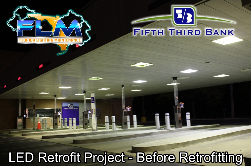 LED Lighting Retrofit and Electrical Services for FifthThird Bank before photo 1