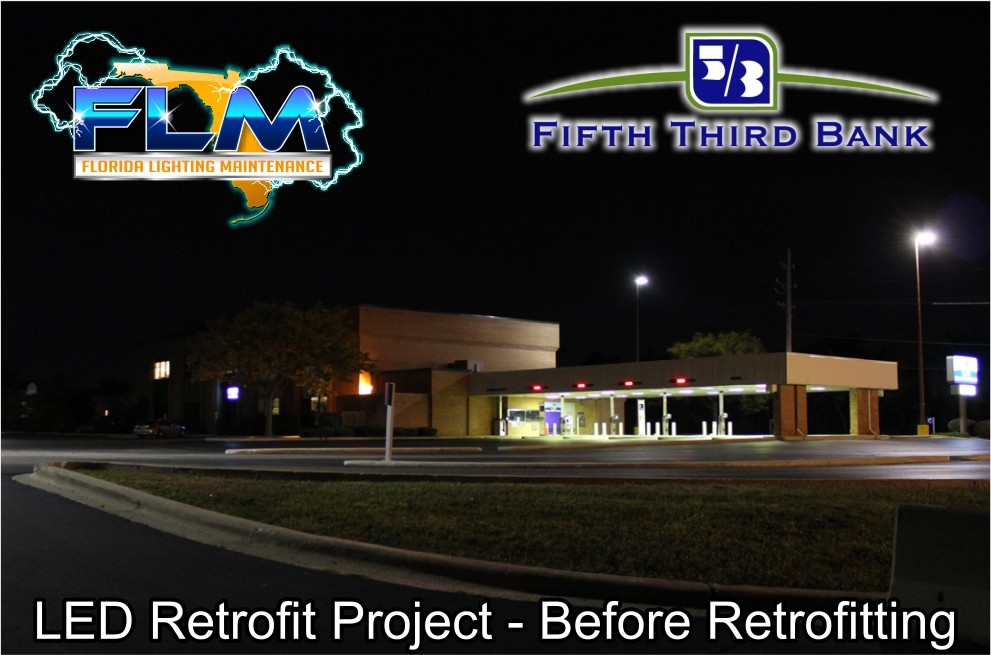 LED Lighting Retrofit and Electrical Services for FifthThird Bank before photo 3
