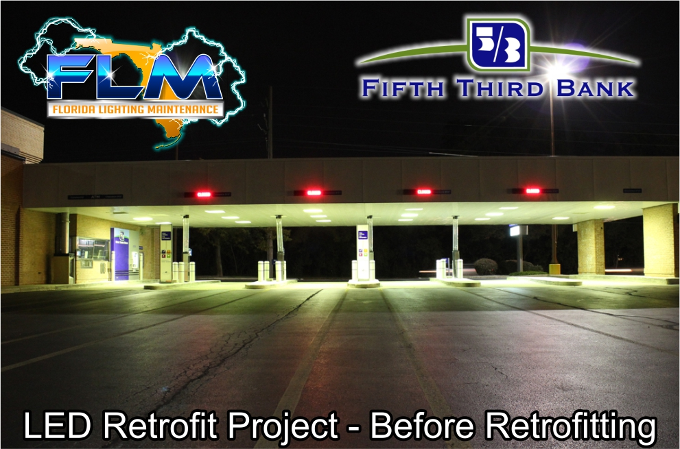 LED Lighting Retrofit and Electrical Services for FifthThird Bank before photo 2